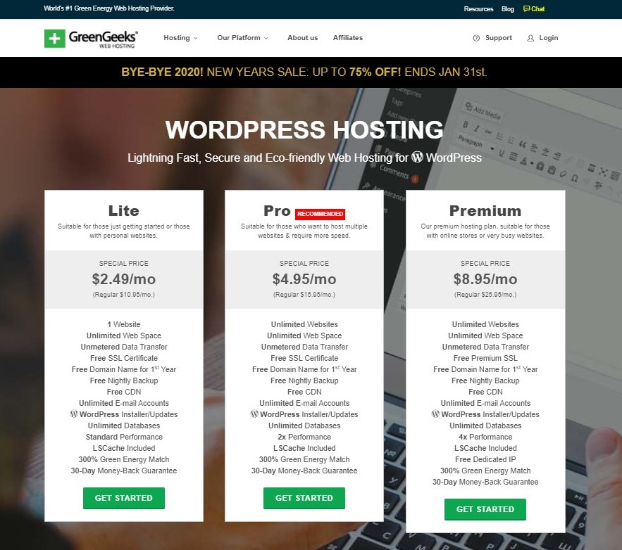 Eco web hosting with GreenGeeks